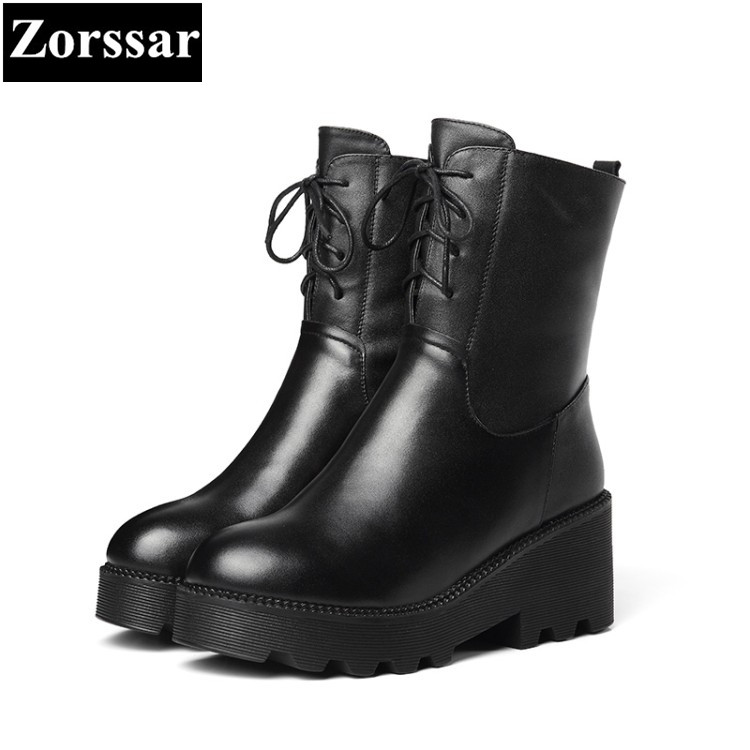 {Zorssar} 2018 winter warm thick Fur woman short boots fashion Genuine Leather Casual lace-up platform ankle Motorcycle boots skullies beanies the new russian leather thick warm casual fashion female grass hat 93022