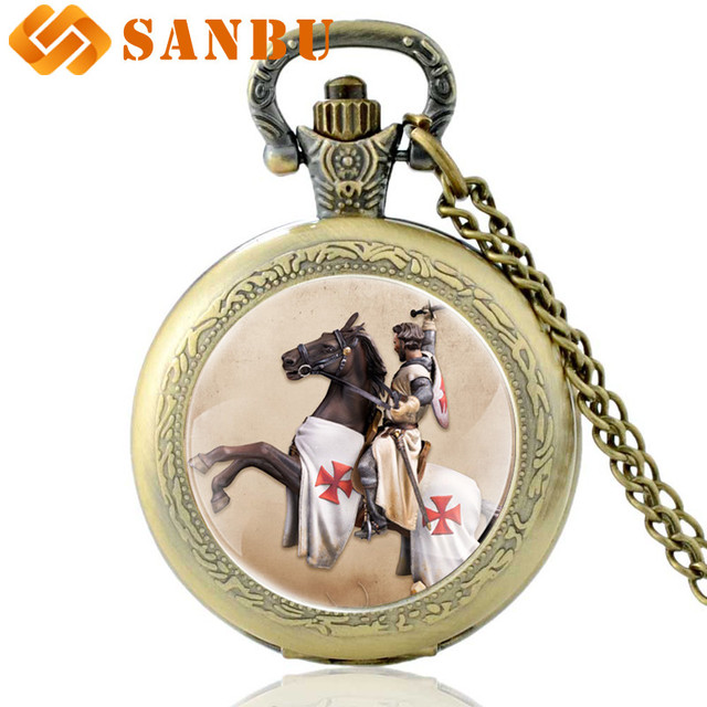 Personality Knight Templar Cross Pocket Watch Vintage Men Women Horse Pendant Br