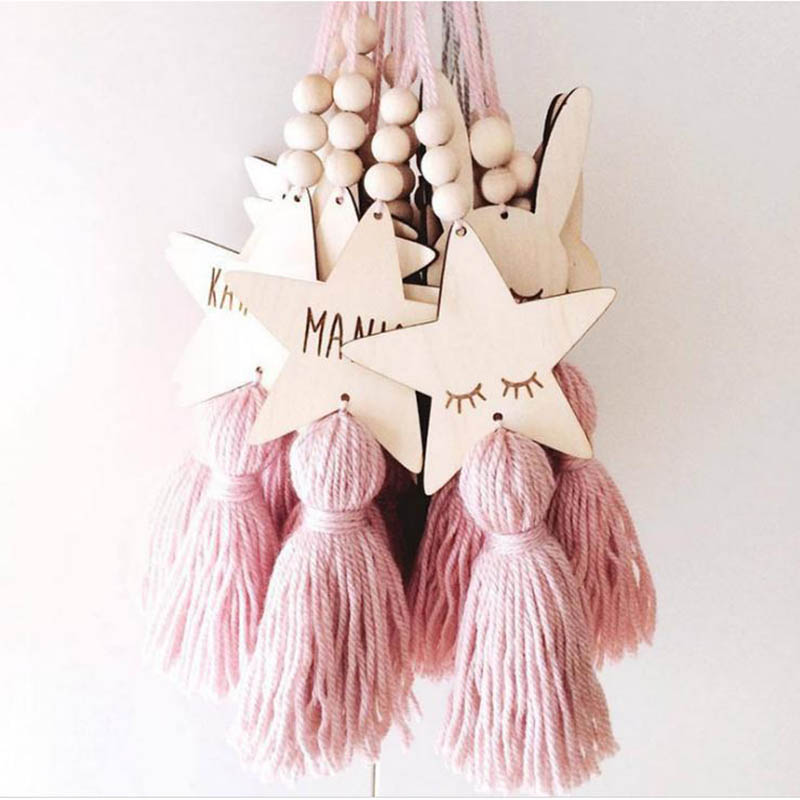 Cute Star Shape Wooden Beads Tassel Pendant Kids Room Decoration Nordic Style Wall Hanging Ornament Girl Gifts Photography Props