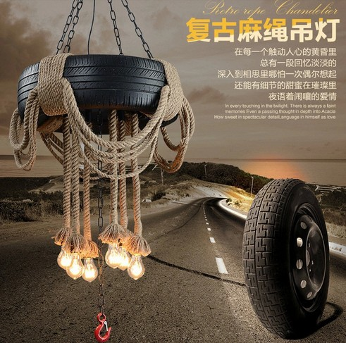 American Loft Creative Tire Rope Droplight Edison Industrial Vintage Pendant Light Fixtures For Living Dining Room Hanging Lamp american loft style hemp rope droplight edison vintage pendant light fixtures for dining room hanging lamp indoor lighting