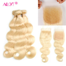 Alot Hair 613 Blonde Bundles With Closure 4 Pcs/lot Indian Body Wave 10-28 Inch 100% Human Hair Bundles Remy Hair Extensions(China)