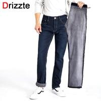 Drizzte Для мужчин S зима Джинсы с флисом внутри на стрейч деним Теплые черные джинсы для Для мужчин дизайнер Slim Fit бренд Мотобрюки Брюки для дев...