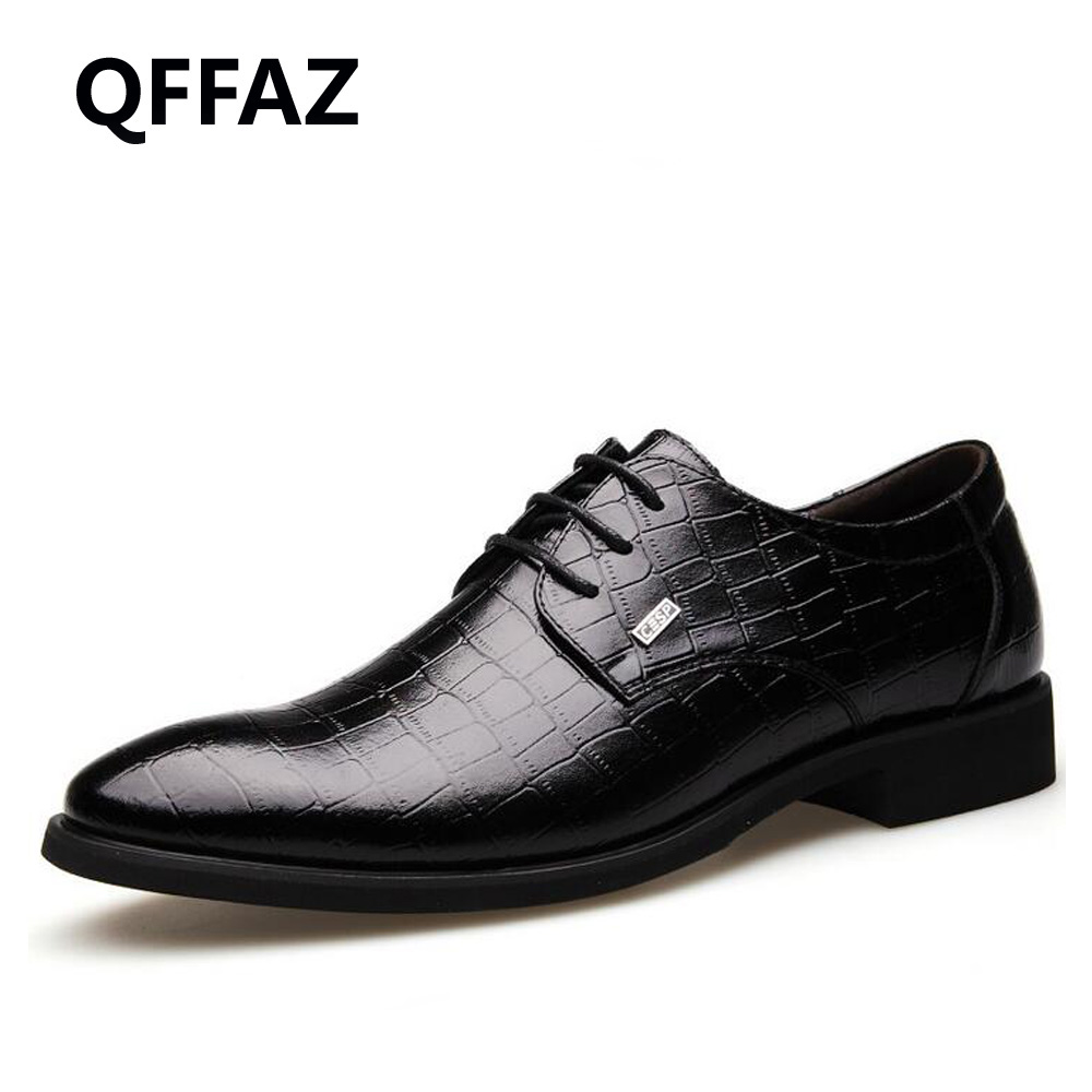 QFFAZ New Genuine leather Men dress shoes brown black Men oxford shoes Men Flats Formal Shoes Breathable Wedding shoes