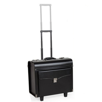 LeTrend Black PU Leather Rolling Luggage Spinner Men Business Suitcase Wheels 18 inch Women Carry on Trolley pilot Travel Bags