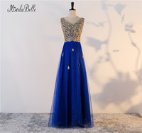 Modabelle Embroidery Sequined Peacock Tulle Gold Evening Dresses Long Women Robe De Soiree Royal Blue Wedding