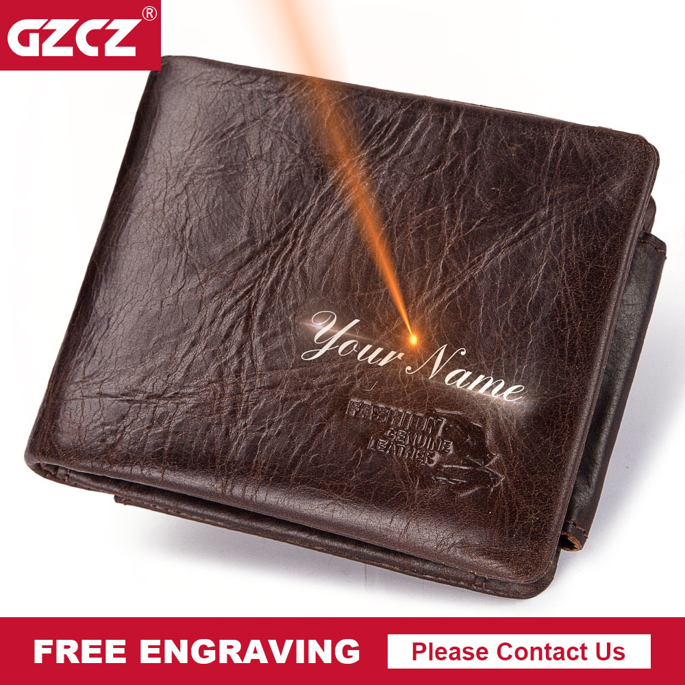 GZCZ Mens Wallets Genuine-Leather Coin-Purse Money-Bag Portomonee Vintage Short Zipper