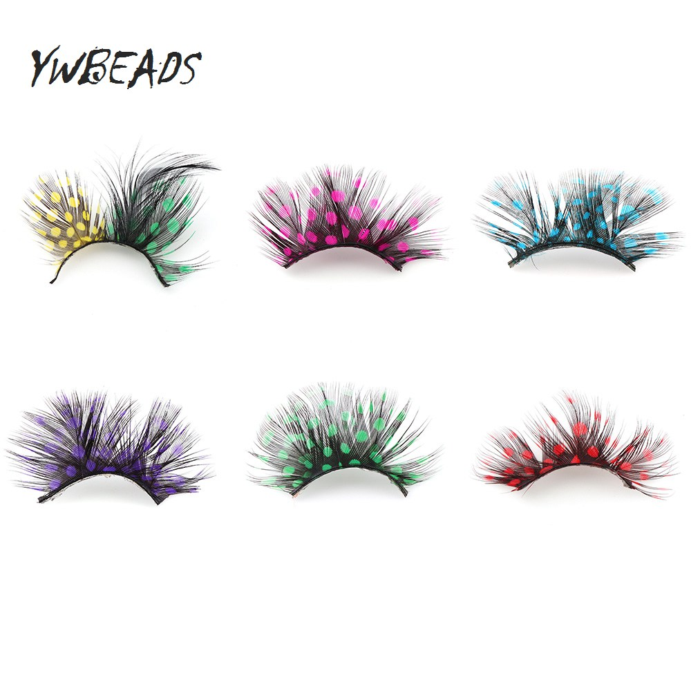 c980a36d416 1 Pair Feather Cosmetic Party False Eyelashes Exaggeration Colorful Eye  Lashes