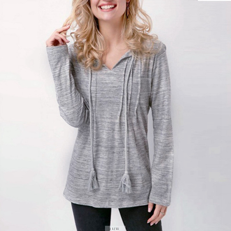 Women Clothes Winter Autumn Hoodies V Collar Long Sleeve Fashion Casual Sweatshirts Rough Loose Pullovers Grey Plus Size XXL 3XL