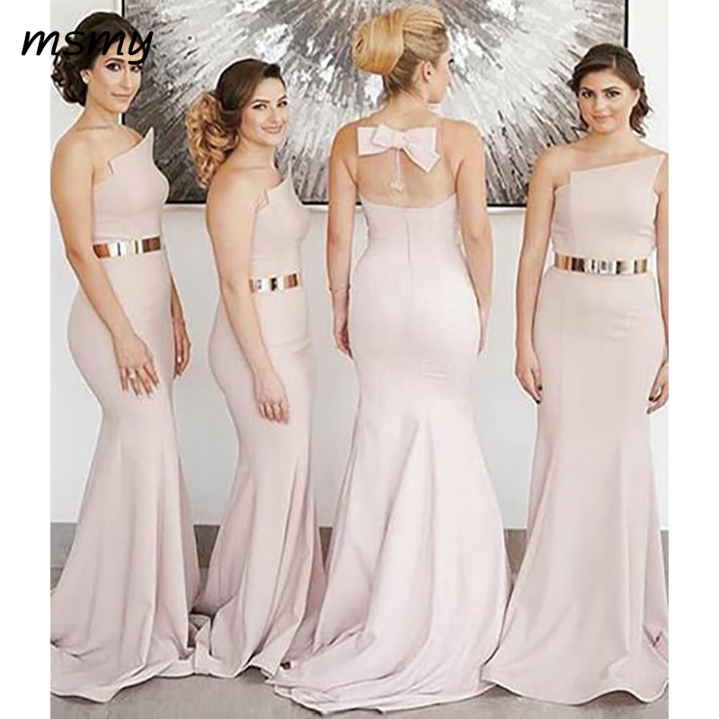 Elegant Mermaid   Bridesmaid     Dresses   Strapless Pink Sweep Train With Belt Sleeveless   Bridesmaid     Dresses   Custom Made