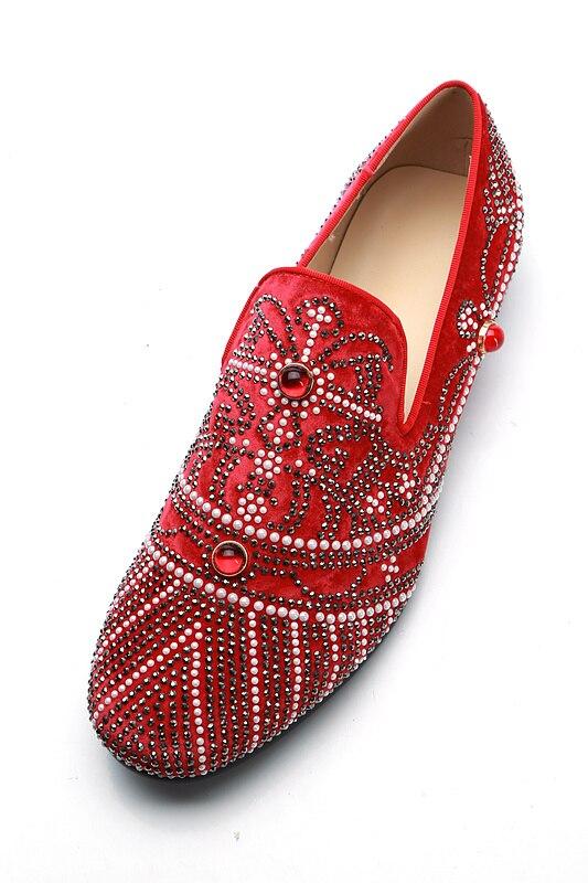 Dos De Mais Shooegle Preto vermelho Cristal Sapatos Novo Cavalheiro Vermelho Negócios Bling Preto Cravejado on Casuais Slip Casamento Homens Partido AqYRqI