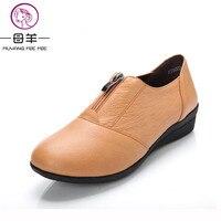 MUYANG MIE MIE Plus Size (34-42) Mulheres Apartamentos Mocassins de Couro Genuíno Mulher Sapatos Baixos das Mulheres Sapatos casuais Simples 4 Cores