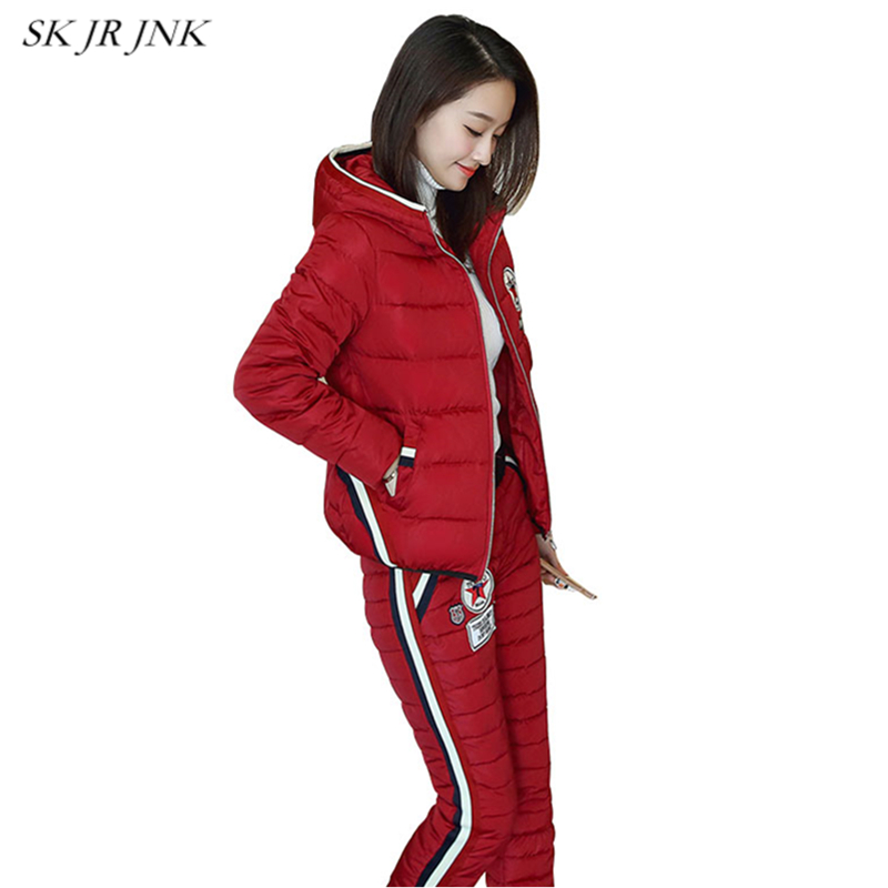 Warm Fashion Padded Hooded Suits 2017 Fashion Women Winter Slim 2 Piece Sets (Top+Pant) Female Parka Wadded Jacker Suit LW50