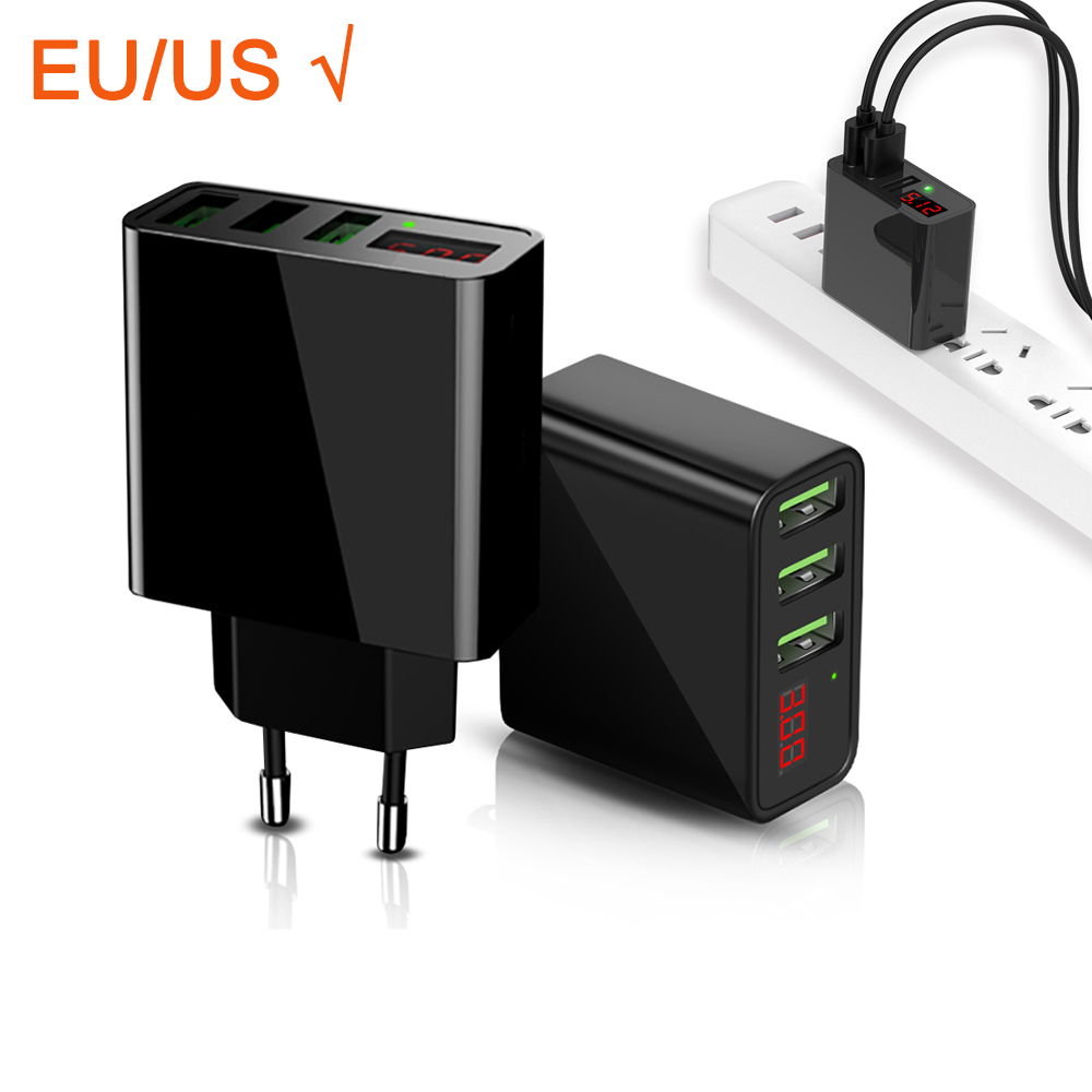 EU US Charge Fast USB Charger Universal Mobile Phone Charger for Samsung Xiaomi Huawei iphone Charger Adapter Tablet LED display