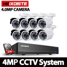 HKIXDISTE 4.0MP HD 4MP в/Открытый безопасности Камера Системы 1080P HDMI CCTV видеонаблюдения 8CH DVR Kit 2 ТБ HDD AHD Камера комплект