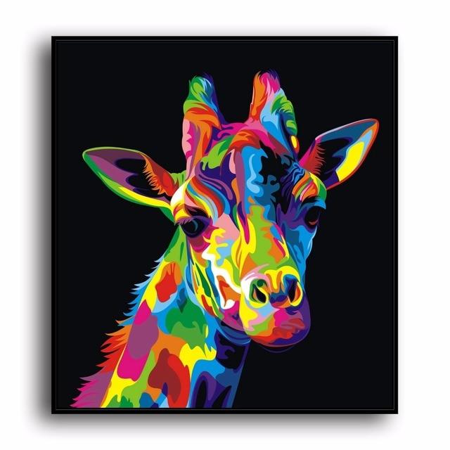 A3495 Abstrakte Malerei Farbe Giraffe Tier. HD Leinwand Drucken Home  Dekoration Wohnzimmer Schlafzimmer Wand Bilder