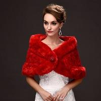 На Складе Красный Обруча Шерсти Faux Женщин Простой Зимой На Открытом Воздухе Свадебные Wrap Куртка Пальто Шаль Мода Свадебные Аксессуары