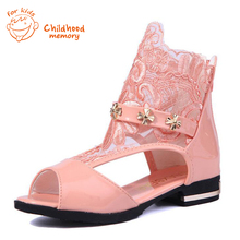 Baby girl shoes  2016 new summer PU leather shoes lace Baby Girls Princess shoes fashion leather shoes 27-37