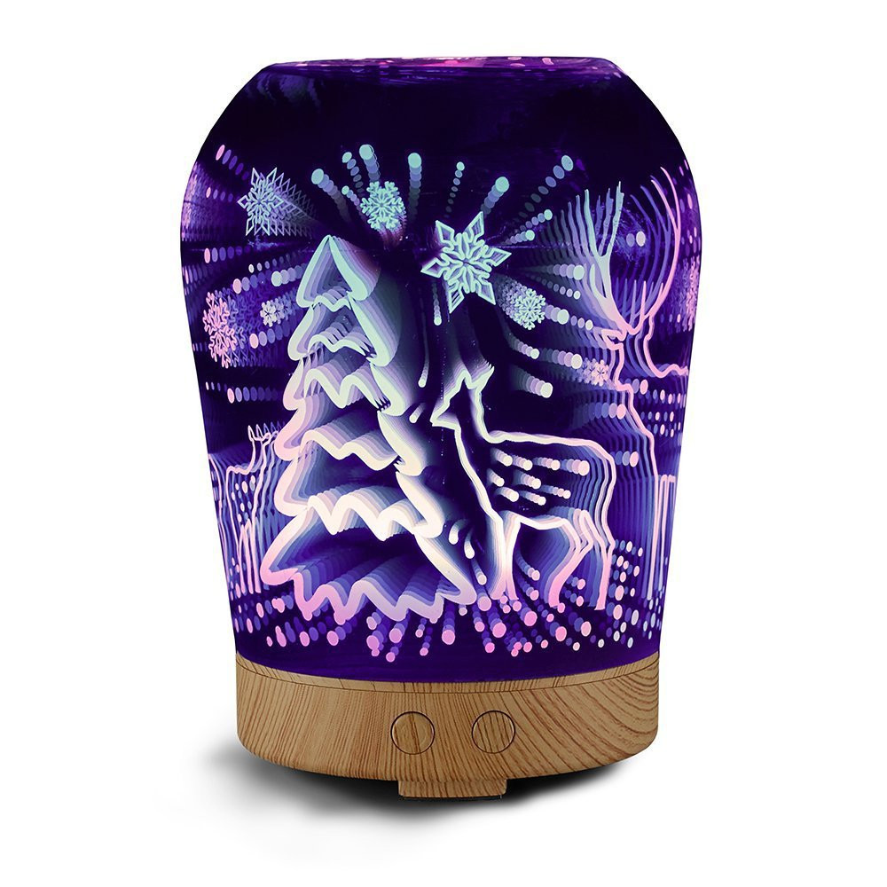 3D Christmas Tree Colorful Aromatic Night Light Aroma Essential Oil Diffuser 100ml Ultrasonic Cool Mist Humidifier with 8 Color