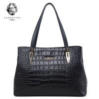 Laorentou Women Bags Handbag Crocodile Top Handle Bags Women Purse Lady Real Leather Tote Bag Valentine's Day Present for Women