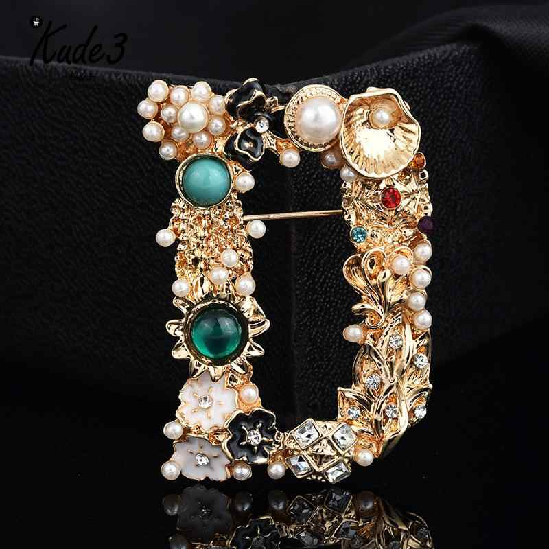 Luxury Pearl Fashion Letter Brooches For Women Colorful 6 Style Exquisite Brooch Pin Creative Jewelry Accessories 2019 New 8446
