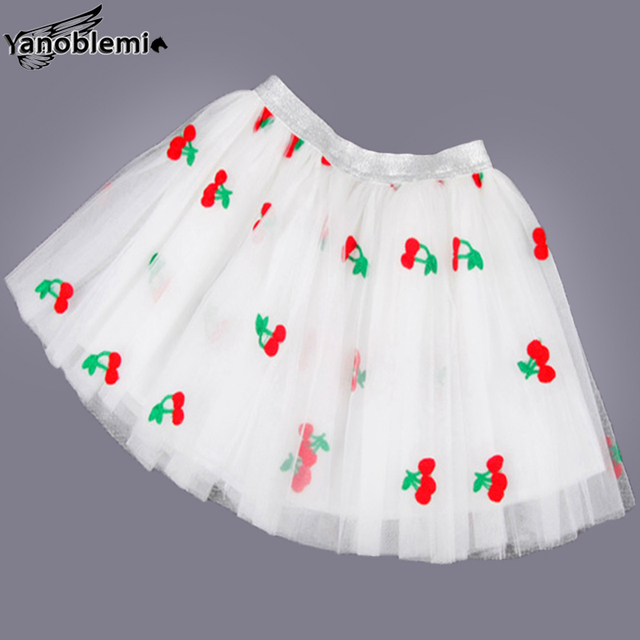 New Fashion Girls Brand Tutu Skirts Baby Childrens Cherry Fruit Printing Pettiskirts Kids Dancing Party  Princess Clothing