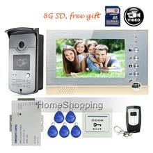 "ENVÍO LIBRE 7 ""pantalla de Grabación de Vídeo Teléfono de Puerta de Intercomunicación Timbre de control de Acceso RFID Set + Al Aire Libre de La Cámara + Potencia + Control Remoto + 8G SD"