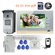 FREE SHIPPING 7″ Screen Recording Video Intercom Door Phone Set + Outdoor RFID Access Doorbell Camera + Power + Remote + 8G SD
