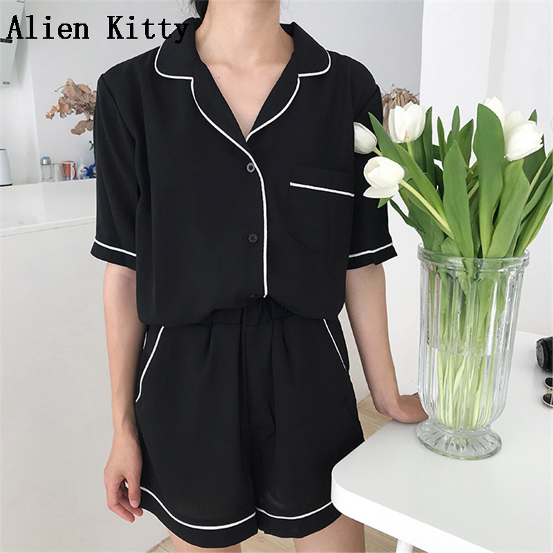 Alien Kitty Short Sleeve Sleepwear Female Home Clothing Solid Sexy   Pajamas     Sets   2018 Women Turn-Down Collar Shorts Slim Mujer