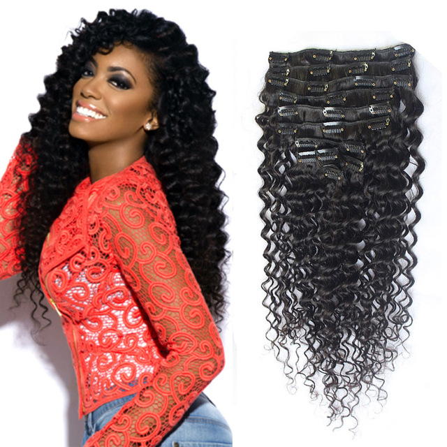 Custom 26 28 30 32 Inch Long Curly Clip In Human Hair Extension
