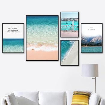 Playa con mar azul, bicicleta de montaña y cielo, citas, cuadro sobre lienzo para pared, carteles nórdicos e impresiones, imágenes de pared para decoración para sala de estar