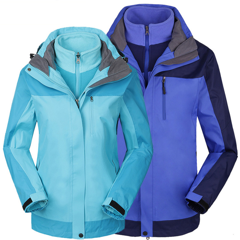 Couple Outdoor Hiking Jackets Two Sets Men Women Mountaineering Jackets Waterproof Breathable Warm Winter Camping Skiing 1308 free shipping new hot sale winter lover couple outdoor sport 3in1 twinset water windproof skiing mountaineering jackets 160d321d