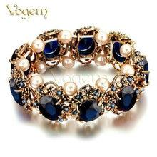 Vogem antigüedad de la vendimia de oro día de san valentín pulseras brazalete para mujeres con la perla de imitación flexible turco joyas pulsera