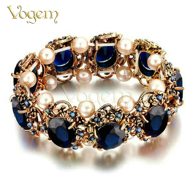VOGEM Vintage Antique Gold Valentines Day Bracelets Bangle for Female with Imitation Pearl Flexible Turkish Jewelry Bracelet