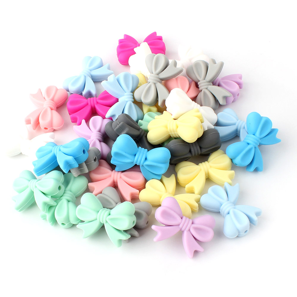 5pcs Silicon Bow Beads 25mm Silicone Teething Beads Accessories Silicone Rodent DIY Pacifier Chain Pendant