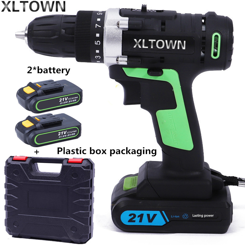 XLTOWN 21v cordless electric drill with 2 battery rechargeable lithium battery electric screwdriver household power tools xltown 21v electric screwdriver multifunction rechargeable lithium drill electric household cordless electric drill power tools