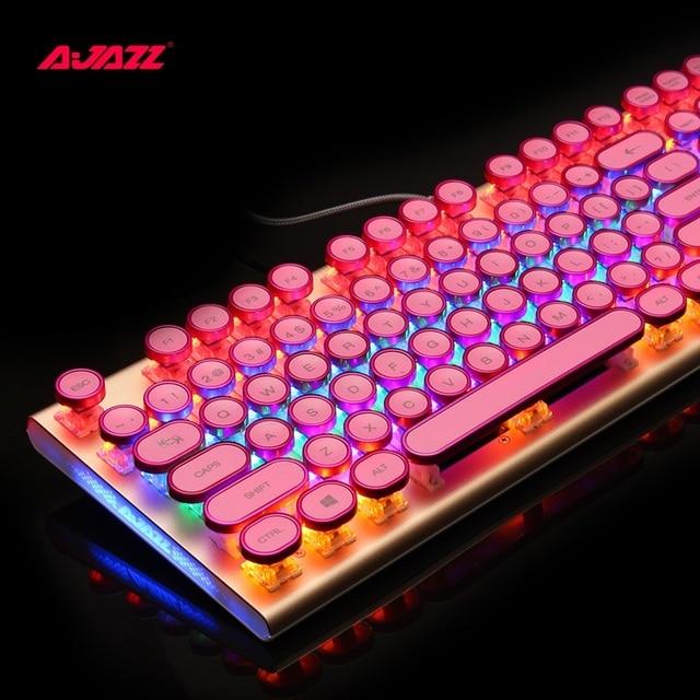 Ajazz AK40 Ретро стимпанк ПЕЧАТНАЯ МАШИНКА USB проводной Эргономичный монохромный/RGB подсветкой Механическая игровая клавиатура N-key Rollover