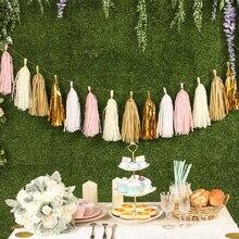 5 шт. Свадебные украшения из розового золота гирлянда из папиросной бумаги с кистями девичник День рождения Baby Shower Юбилей Декор