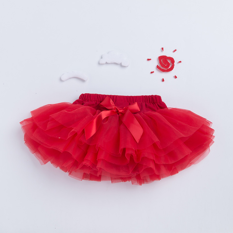 Krismas Bow Baby Girls TuTu Skirt Ruffle Bloomer Gown Ball Rose Red Fuchy Pettiskirt Bayi 6 Tulle Layer Children Clothing