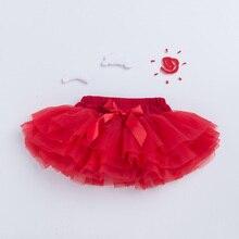 Falda tutú con lazo bonito para niñas, falda con volantes, vestido de baile, Rosa rojo, falda de encaje, bebé, 6 capas de tul, ropa para niños