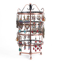 New Hot Sale Fashion 144 Holes Earrings Jewelry Display Rack Metal Revolving Stand Holder Showcase Free Shipping Wholesale