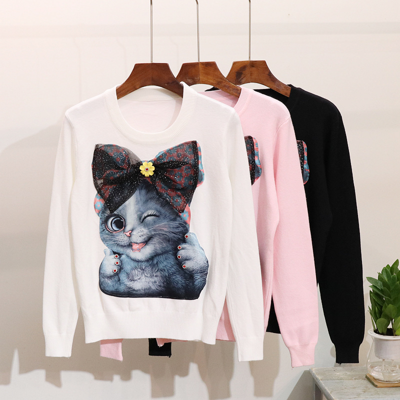 Europe Station Woman's Sweater 2019 Autumn New Fashion Bow Patch Cat Long Sleeve Pullover Sweater Knit Coat Female Students Tops