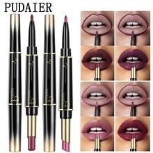 Pudaier, 16 цветов, двухсторонний стойкий карандаш для губ, матовый макияж, для женщин, красота, губы, пигмент, красный, телесный, помада, ручка для макияжа
