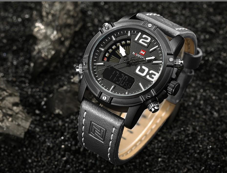 2018 NAVIFORCE Hommes de Mode Sport Montres Hommes Quartz Analogique Date Horloge Homme En Cuir Militaire Montre Étanche Relogio Masculino 11