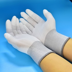 Image 2 - 1 זוג כפפות בתמיסה אנטי סטטי ESD אלקטרוני עבודה כפפות Pu מצופה פאלם מצופה אצבע מחשב מערכות עבור אצבע