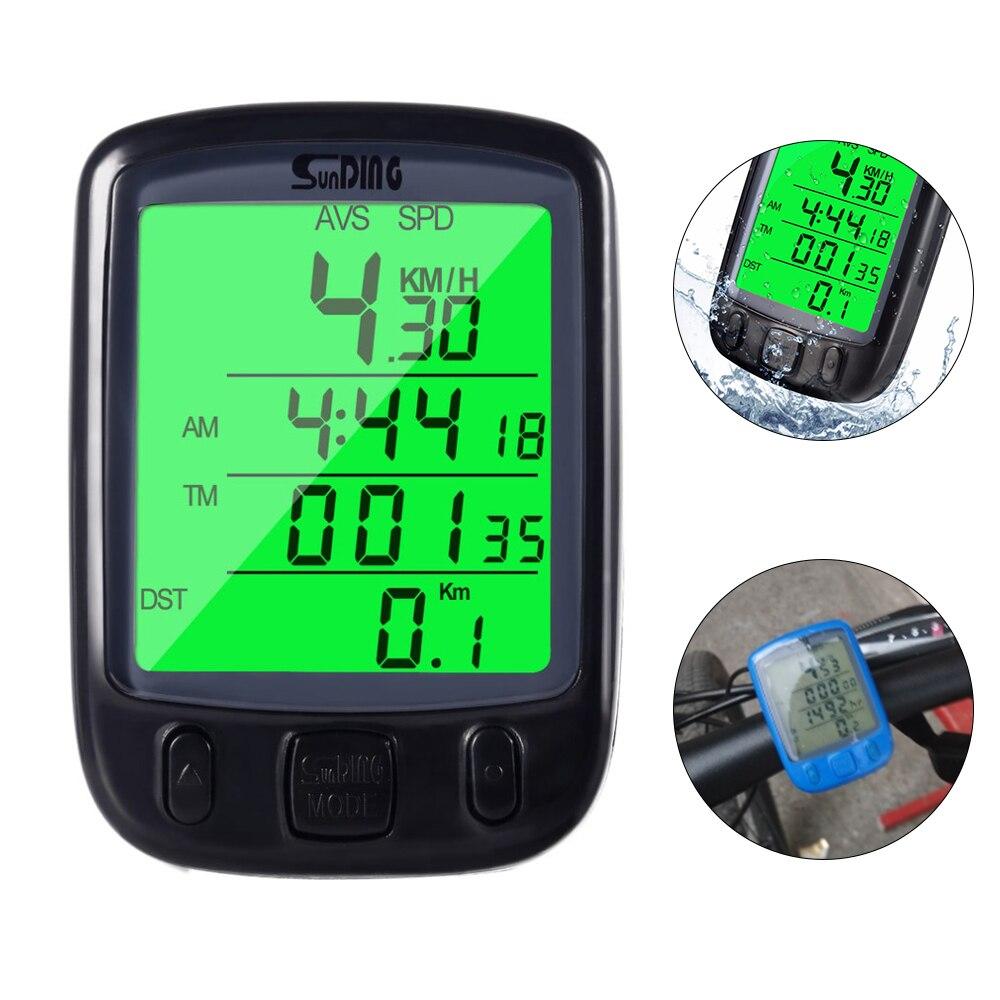 Sunding SD 563B Wasserdicht LCD Display Radfahren Bike Fahrrad Computer Kilometerzähler mit Grün Hintergrundbeleuchtung Heißer verkauf