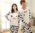 2014 Nuevos amantes lindos de la historieta de manga larga pijamas vacas en el otoño y el invierno de hombres y mujeres de Ocio desgaste trajes