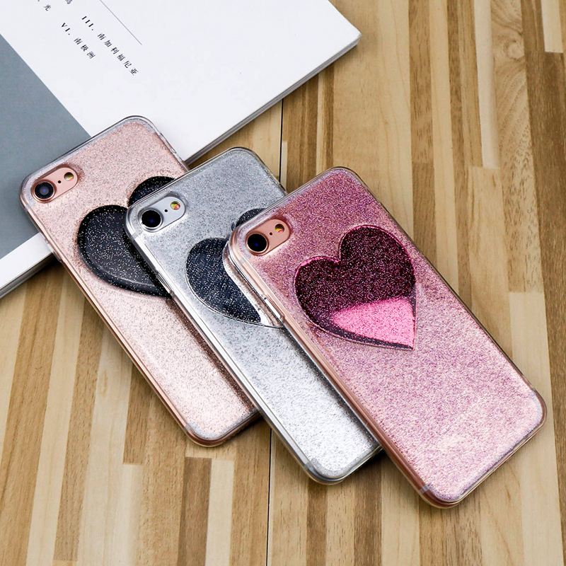 For iPhone 6 Case Glitter Powder Love Heart Phone Back Case For iphone 7 Case Glossy tpu phone protected Cover For iphone X Case