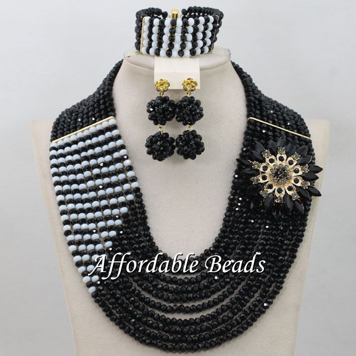 Ensembles de bijoux de perles africaines noires et blanches ensemble de collier de mariage nigérian magnifique cadeau de mariage ABW153