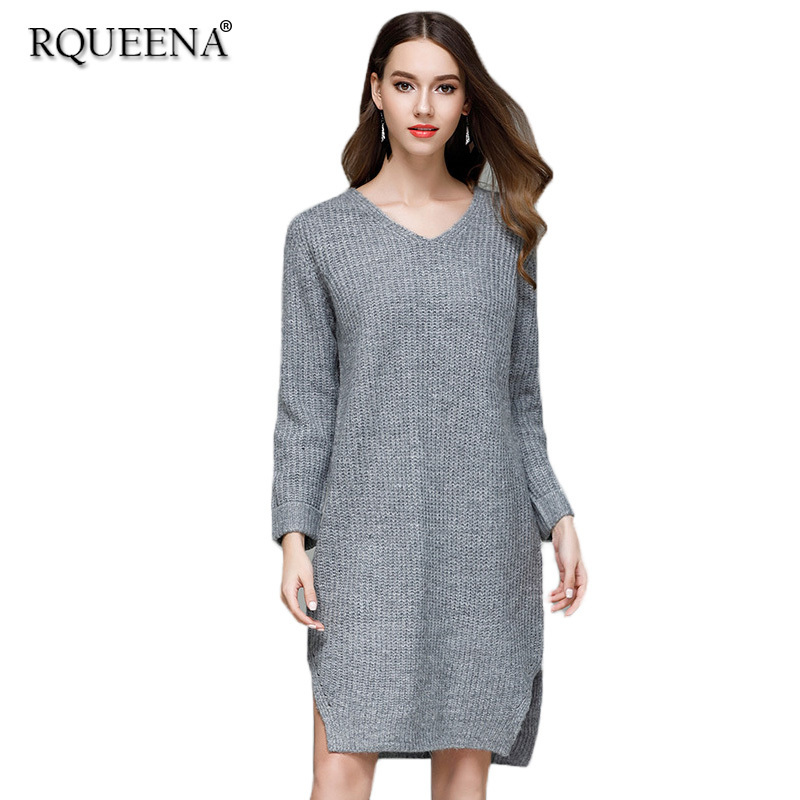 Rqueena Casual Loose Dress Autumn 2017 New Fashion Free Shipping Fashion Long Sleeve V Neck Knitted Sweater Dress For Women free shipping women lace dress 2016 autumn style good quality half sleeve casual dress o neck 55
