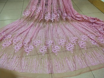 2018 Latest african glued glitter french Fabrics  Tissu Africain Guipure glued  Lace Fabric with beads in pink color